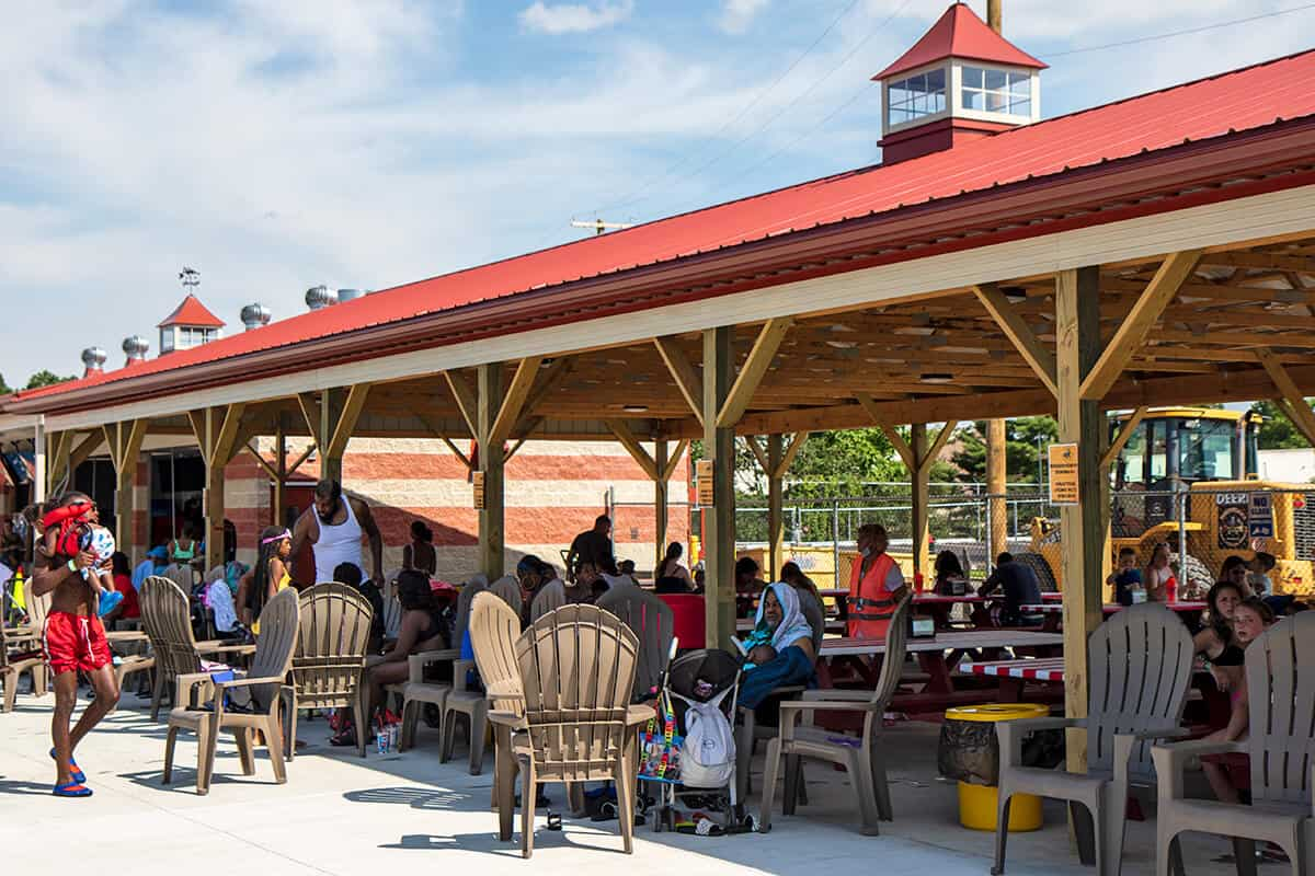 Relax and dine in our water park pavilion