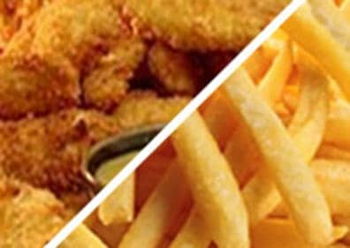 Fried chicken fingers and french fries