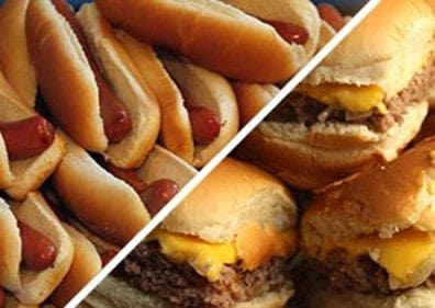 Hot Dogs in buns and cheeseburgers