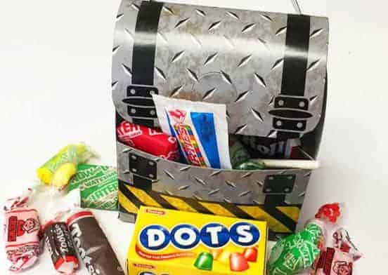 Toolbox with a variety of candy inside