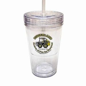 Diggerland tumbler cup with straw and logo