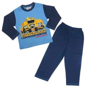 Diggerland toy trucks pajamas blue shirt and pants
