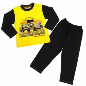 Diggerland toy trucks pajamas yellow shirt and pants