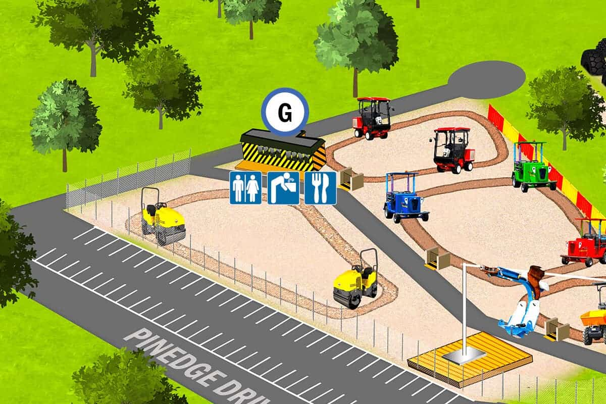 Location of Fork Lift Cafe food and beverages at Diggerland