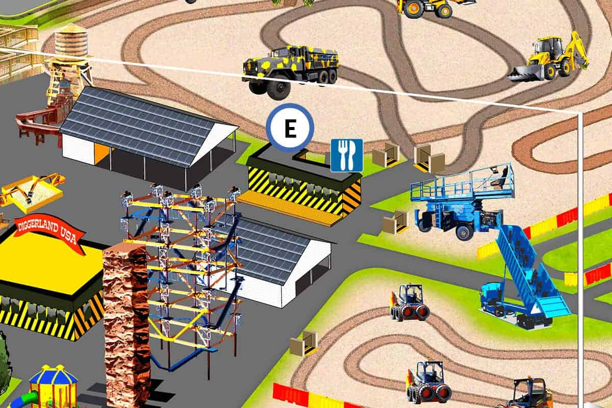 Location of The Lunch Pail food and beverages at Diggerland