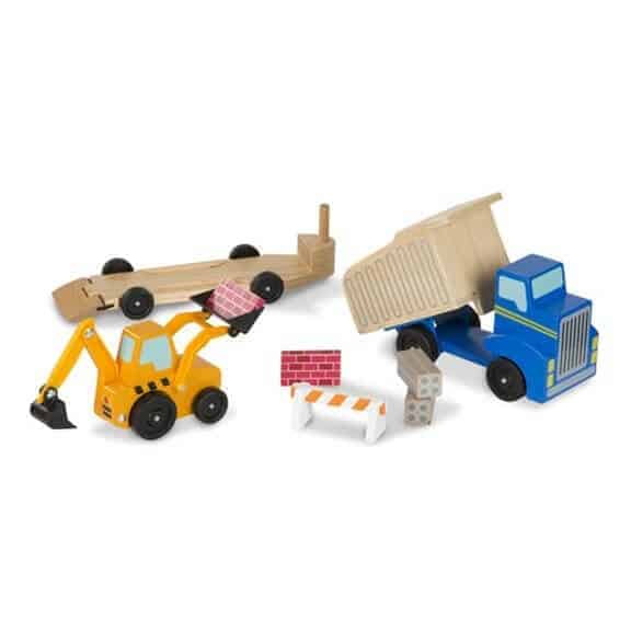 Melissa and Doug dump truck and loader wooden toys apart