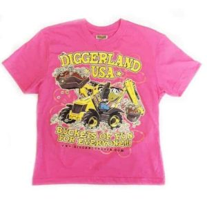 Diggerland pink t-shirt with buckets of fun for everyone