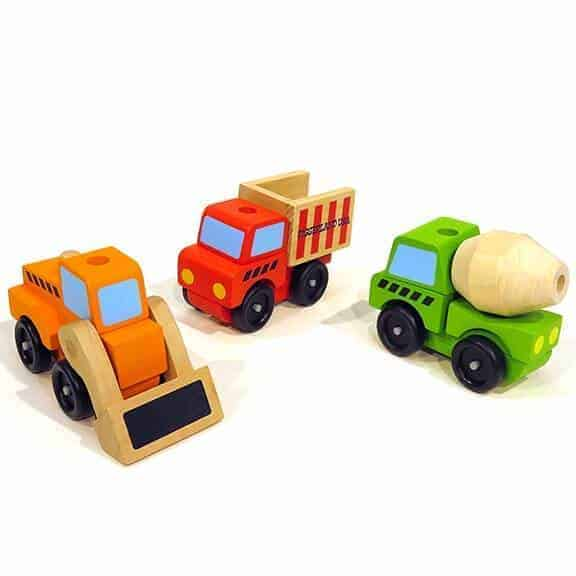 Interchangeable Diggerland wooden vehicles toys front side