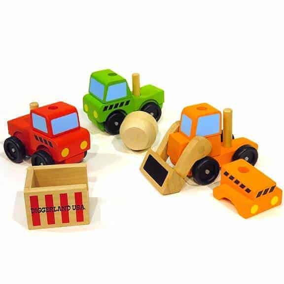 Interchangeable Diggerland wooden vehicles toys pieces