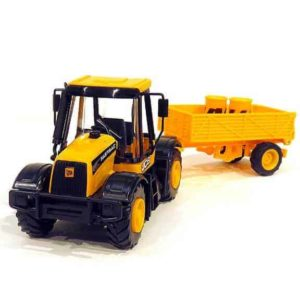 JCB tractor construction series with trailer front right