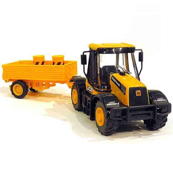JCB tractor construction series with trailer front left